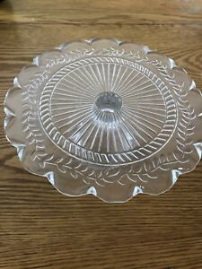 Footed glass cake plate