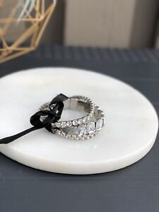 BLING BRACELET SET WITH BLACK RIBBON