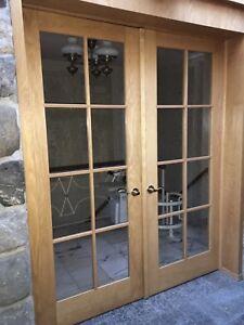 Solid Oak Wood French Doors w/Hardware & Frame