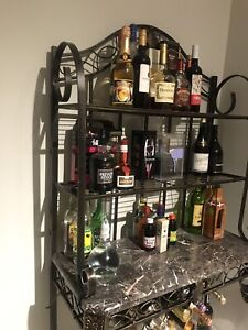 Metal & Marble Wine and liquor Rack Excellent Condition