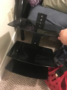 3 glass floating tv stand/shelves