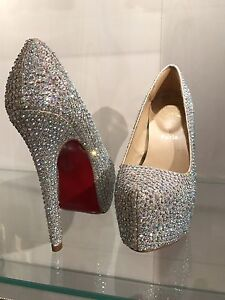 Crystal embellished Louboutin Daffodil style pumps