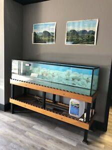 120 gallon aquarium with metal & wood stand.
