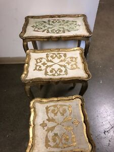Antique Italian wood nesting table set