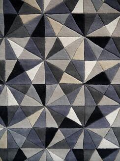 New Plush NZ Wool Jewel Grey Black Rug Collection Geometric Rugs Richmond Yarra Area Preview