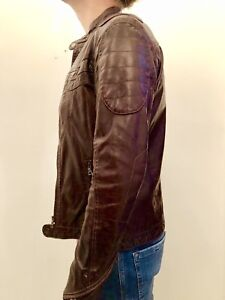 Danier men genuine brown leather biker jacket​