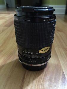 Vintage camera lens Carsen Olympus OM mount f 135mm 1:4 2.8 52