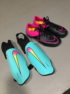 Indoor soccer shoes/shin pads