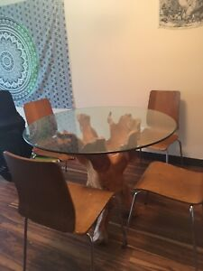Teak root wood table and 4 chairs