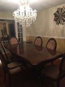 Wood table set with 6 chairs