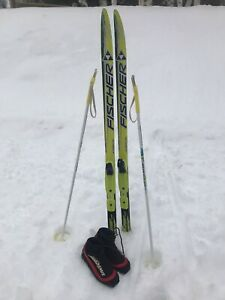 Children's cross country skis and boots