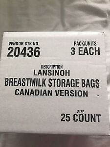 Lansinoh bags and Medela pads