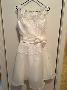 New Ivory White Lace Satin Organza short dress for wedding, prom