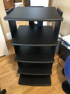 Five shelf media stand black