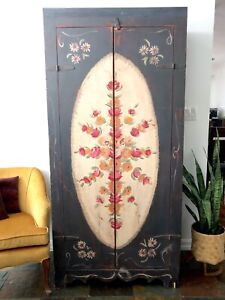 Beautiful Vintage Hand Painted Rustic Cabinet