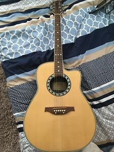 """""""TCM"""" acoustic guitar with pickup and soft case"""