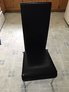 4 leather chairs high back