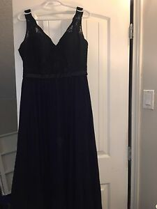 Morilee Navy Lace and Chiffon Dress