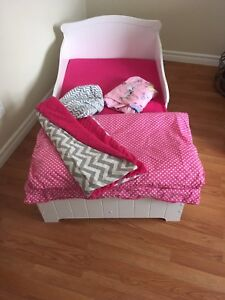 Toddlers bed. And sleeping bag