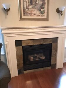 Fireplace mantle and Gas Fireplace