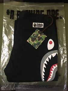 A BATHING APE SIDE SHARK CHINOS SZ M DS WITH TAGS/BAG