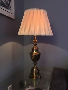 Solid brass Stiffel Trophy table lamp and original lamp shade