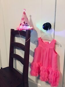 Two 12M Dresses and 1st Birthday Party Hat