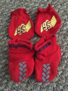 Lightning McQueen mitts and booties.