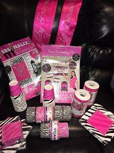 Assorted Pink & Black Zebra Party Supplies