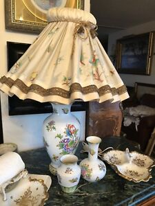 Herend Hungary porcelain hand painted lamp