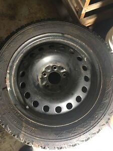 4 steel rims ,2 with new snow tires, 2 used tires  $250