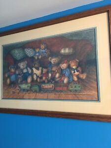 Large nicely framed teddy bear pictures