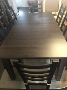 IKEA Solid wood dining room table and 8 chairs