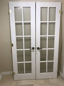 Pine wood Frosted French doors, 48x80, with hinges ,handle lock