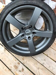 "RIAL 18"" x8.5 GUN METAL RIMS ON BRIDGESTONE BLIZZAK 225/40r 88h"