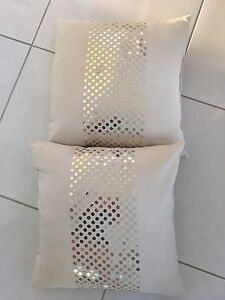 2 x Cream Fabric Cushions with Gold Sequin Feature Grange Charles Sturt Area Preview