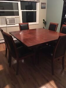 Square dining table and 6 chairs