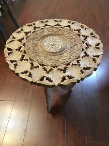Balinese wood carving round side coffee table