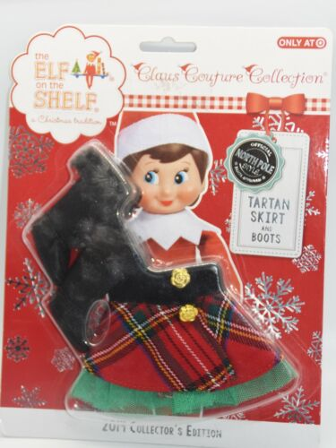 the Elf on the Shelf Claus Couture Collection Tartan skirt and boots NEW