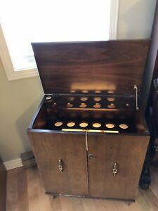 Mid Century Modern Antique Bar Cabinet with Light