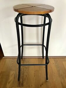 Four industrial looking metal & wood bar stools, plant stands