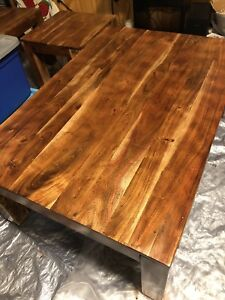 Solid wood refinished coffee and end tables