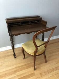 Antique Wood Spinet Desk & Balloon Back Chair