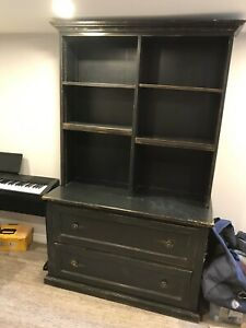 Distressed Wood Bookshelf with Built in Filing Drawers