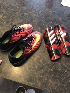 Boys/Youth Indoor Soccer Shoes and shin pads