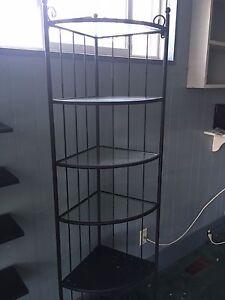 Corner Metal Frame and Glass Display Shelves