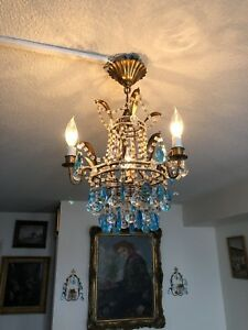 Antique French tole chandelier with two wall sconces