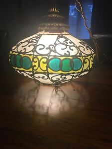 Antique glass hanging lamp, unknown age (assume 1930-40)