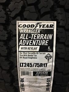 4 new Goodyear Wrangler AT adventure with Kevlar LT 245/75R17