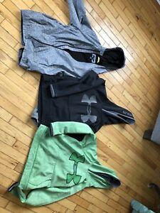 3 UA (1 not shown, blue) hoodies, GAP spring coat